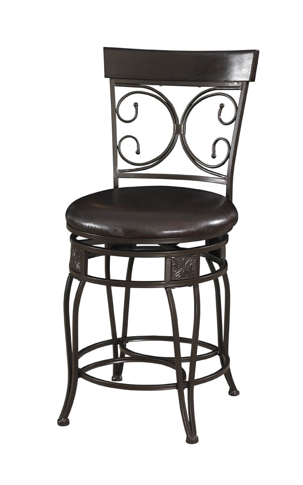 Big Amp Tall Back To Back Scroll Counter Stool Black