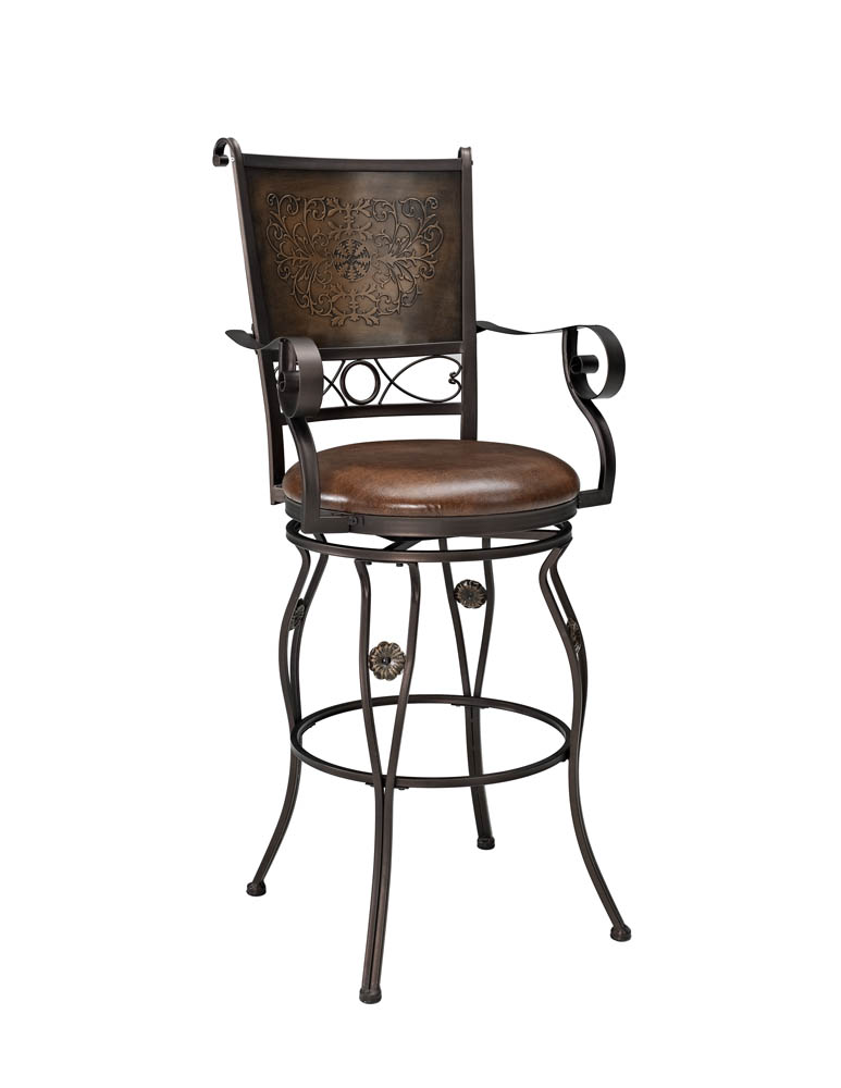 Big Amp Tall Barstool With Arms Copper Stamped Back 222