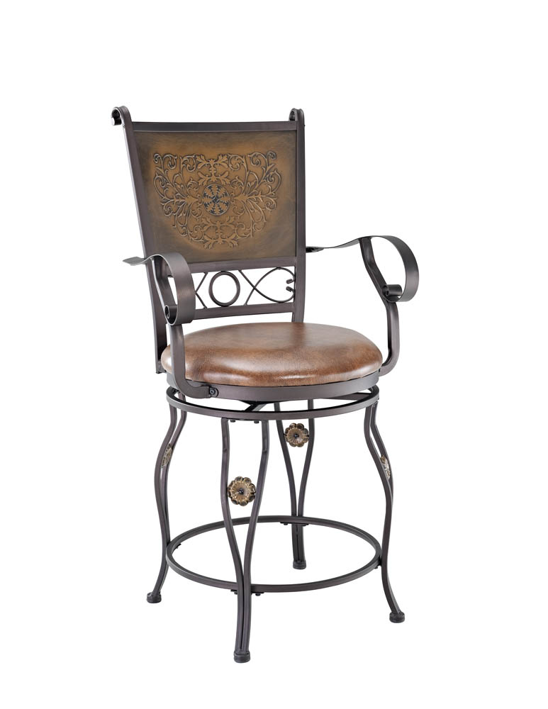 Stools With Backs : Big & Tall Counter Stool with Arms (Copper Stamped Back) - [222-430 ...