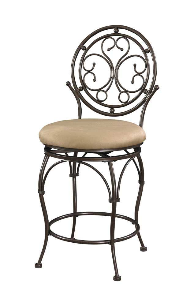Big Amp Tall Scroll Circle Back Counter Stool Bronze