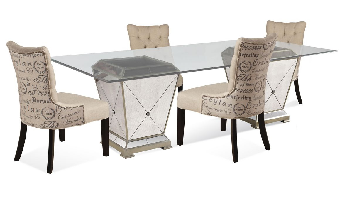 Borghese dining set with script chairs antique mirror amp silver leaf