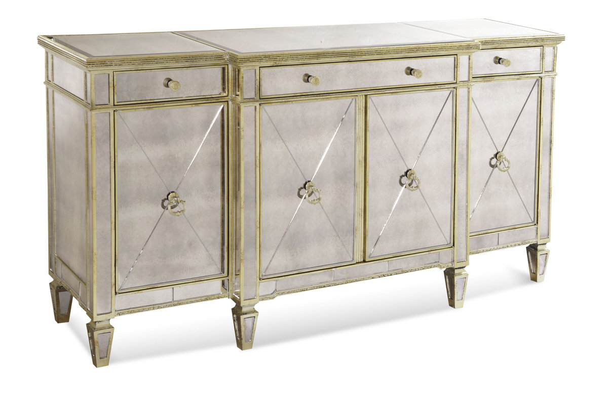 Borghese Mirrored Buffet Server In An Antique Mirror U0026 Silver Leaf Finish    [8311 576]