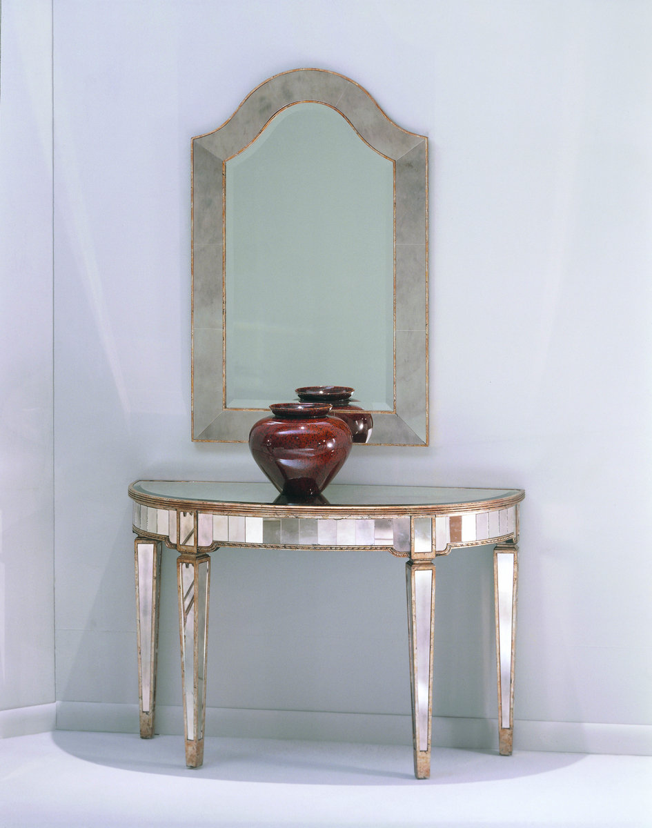 Borghese Mirrored Console Table (Antique Mirror & Silver ...