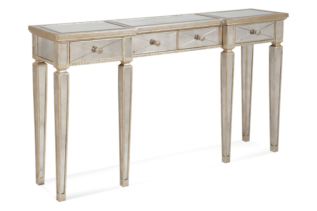 Borghese Mirrored Console Table with Drawers (Antique Mirror & Silver Leaf  Finish) - [8311-472] - Borghese Mirrored Console Table With Drawers (Antique Mirror