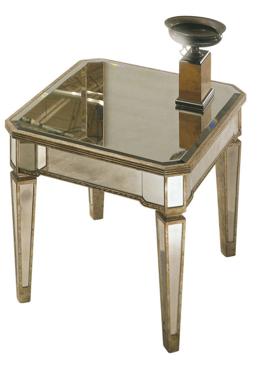 Borghese Mirrored Rectangle End Table Antique Mirror