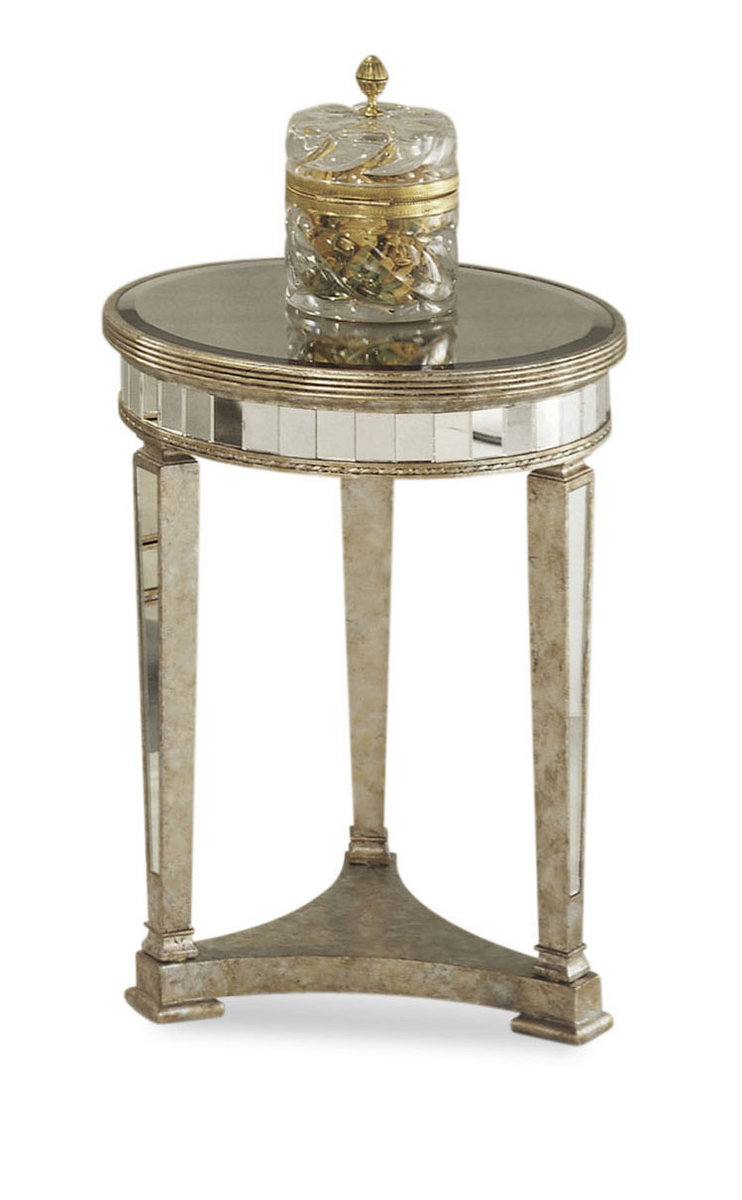 Borghese Mirrored Round End Table Antique Mirror Silver