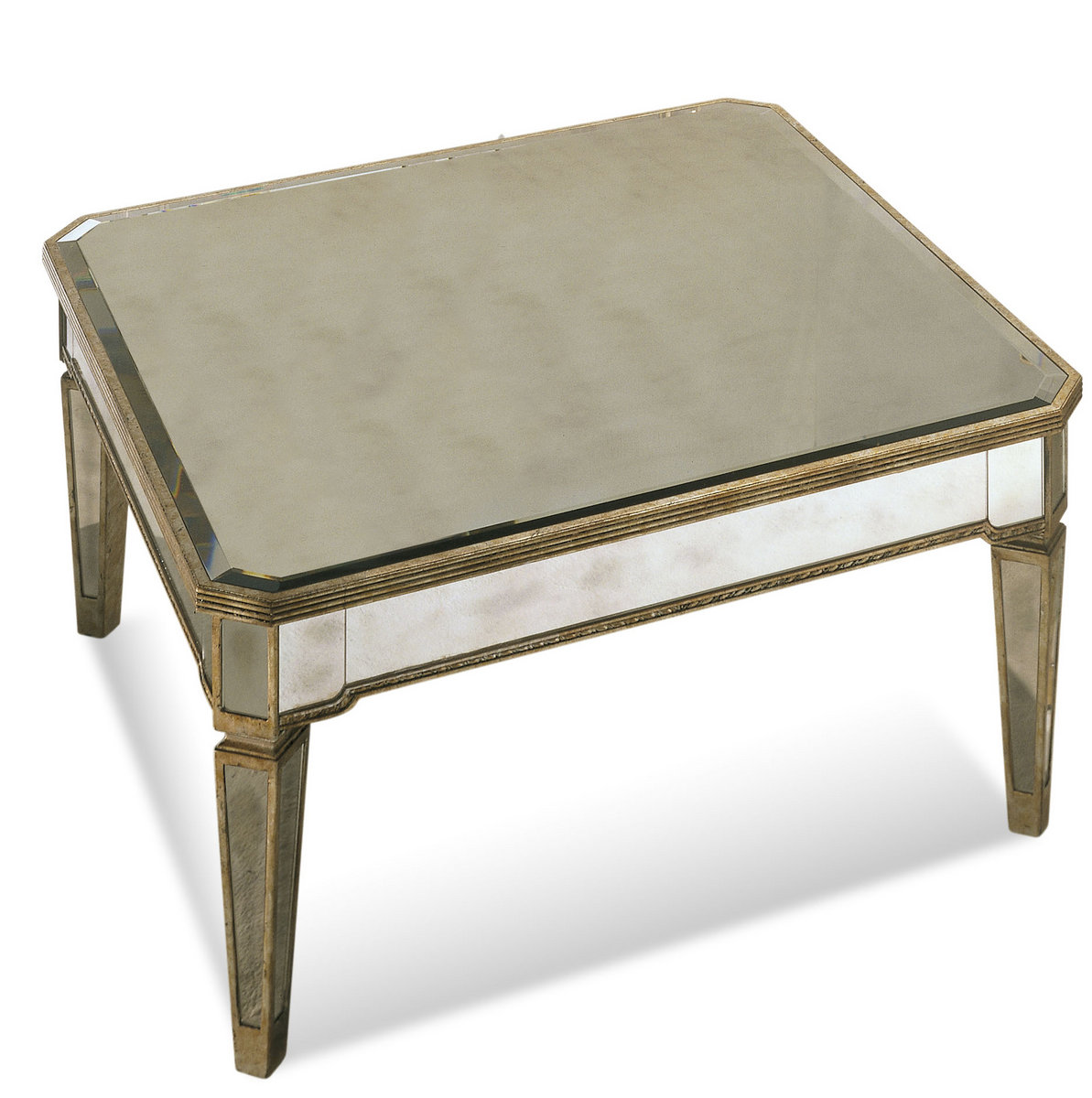 Borghese Mirrored Square Cocktail Table Antique Mirror Silver