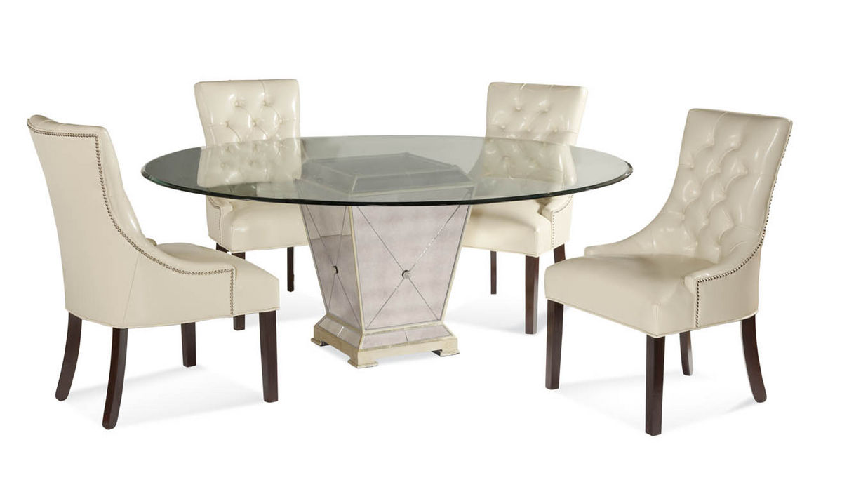 Borghese Round Dining Set Antique Mirror Silver Leaf Finish - Silver mirrored dining table
