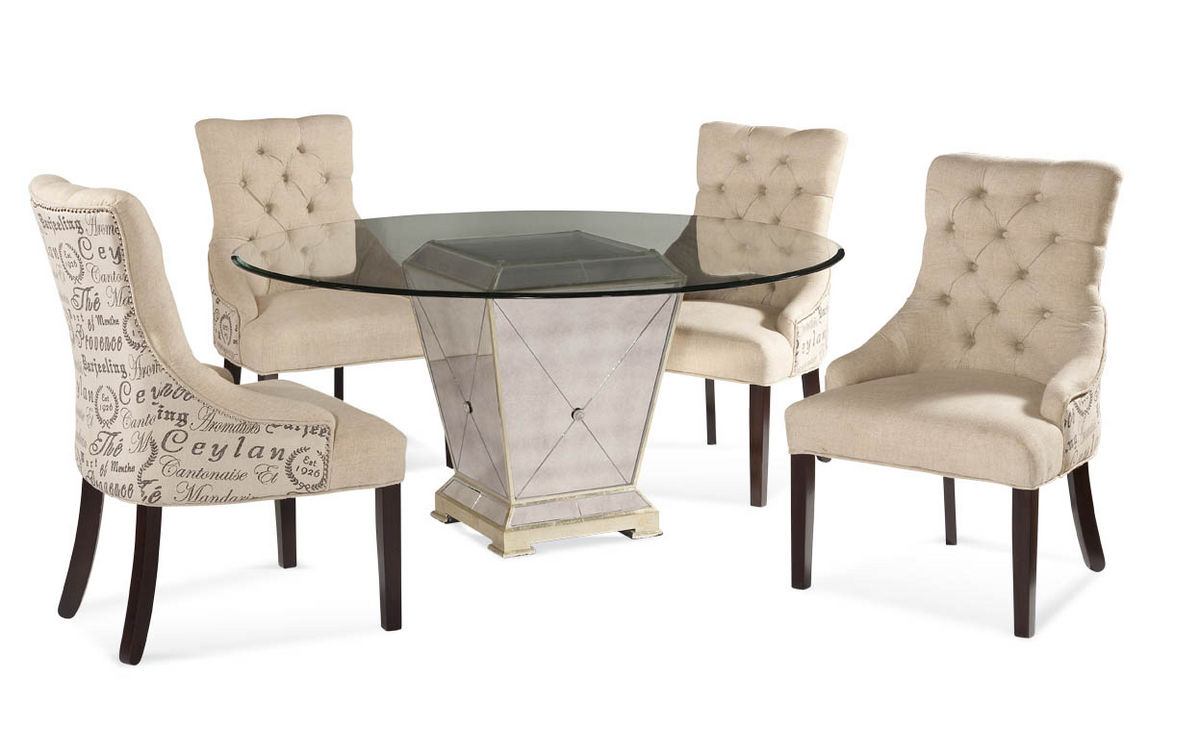 Borghese Round Dining Set With Script Chairs Antique Mirror Amp Silver Leaf Finish 8311 000