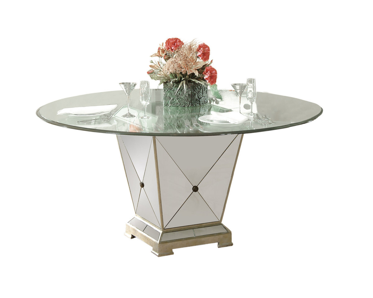 Borghese Round Dining Table (Antique Mirror U0026 Silver Leaf Finish)    [8311 601 906]