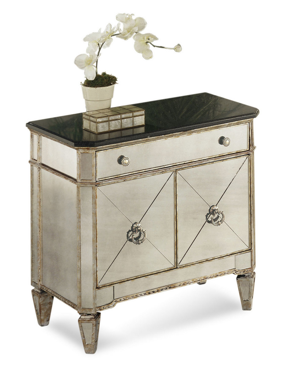 Borghese Small Mirrored Chest (Antique Mirror & Silver Leaf Finish ...