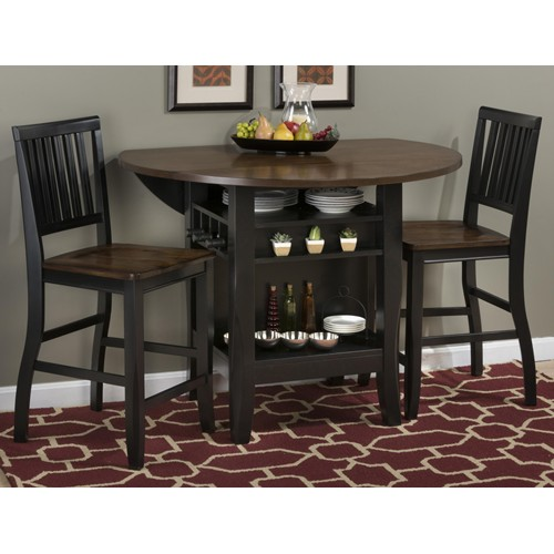 braden birch 48u201d round counter height 3 piece pub table set black