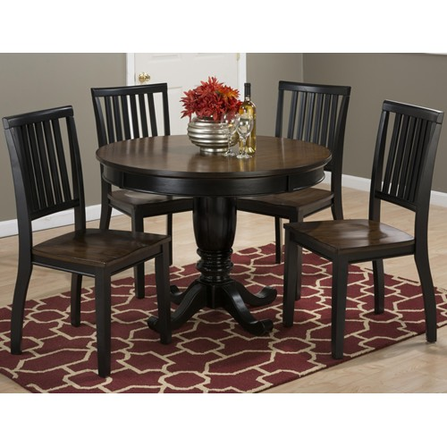 birch round 5 piece dining set black brown with slat back side chairs