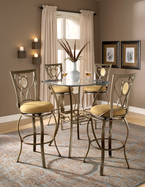 Brookside Oval Bar Height Bistro Table Set (Brown Powder Coat Finish)