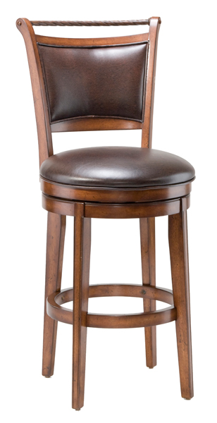 Calais Wood Swivel Barstool In Brown Vinyl Cherry 4298 830s