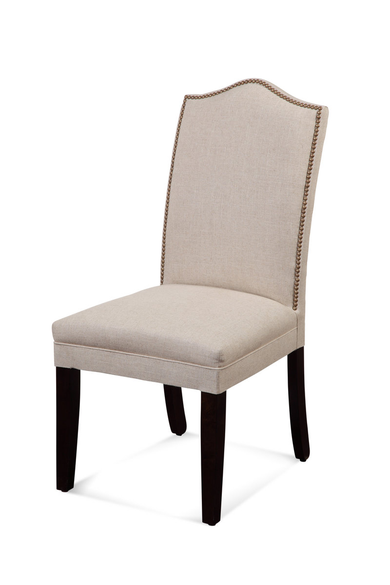 Camelback Nailhead Parsons Chair Natural Linen Finish