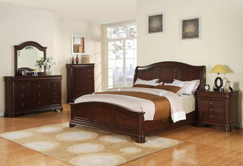 Cameron Bedroom Set Dark Cherry Finish Cm750qb
