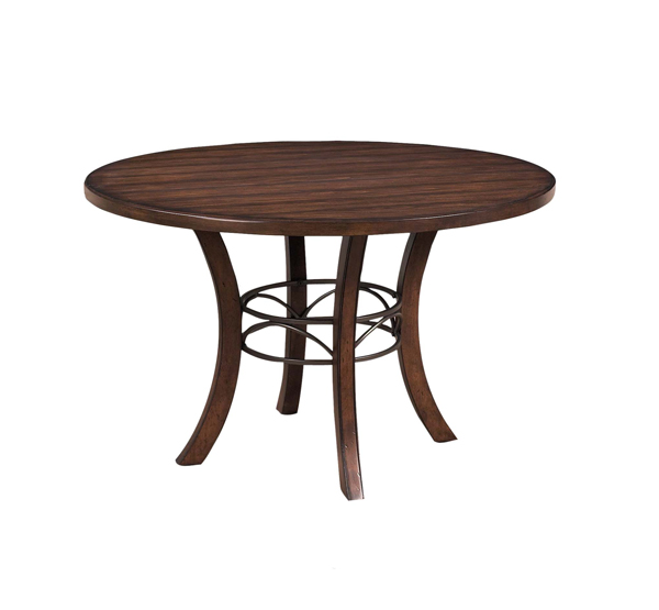 Cameron Round Wood Dining Table With Metal Ring Chestnut Brown Finish
