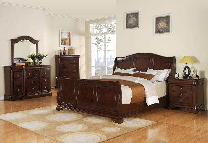 cameron sleigh bedroom set dark cherry finish cm750qsb decor