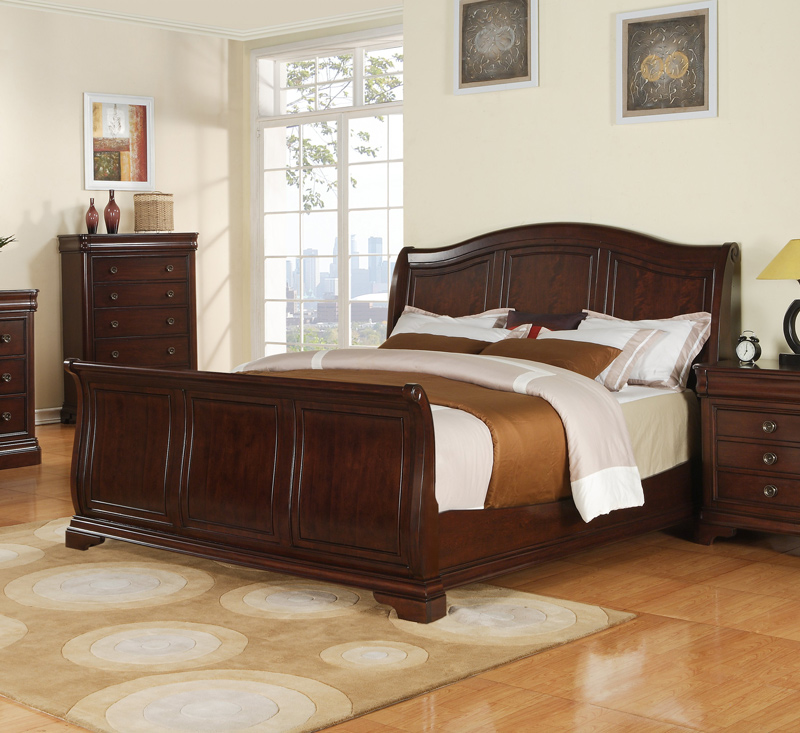 Cameron sleigh bedroom set dark cherry finish for Cherry wood bedroom furniture