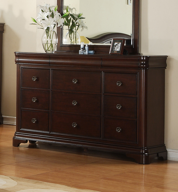 ... Cameron Sleigh Bedroom Set (Dark Cherry Finish)   [CM750QSB] ...
