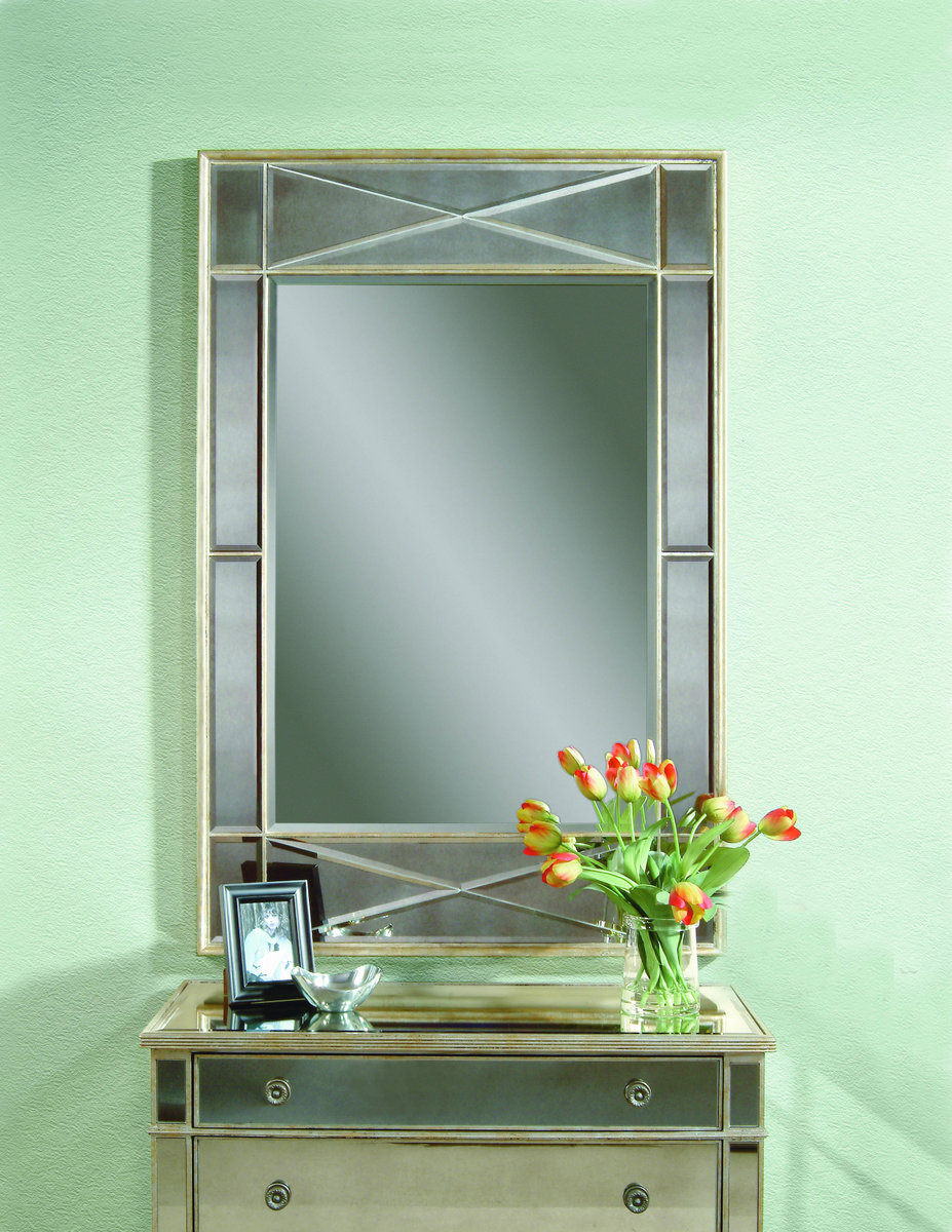 Campagna wall mirror silver leaf finish m2180bec for Wall decor with mirrors