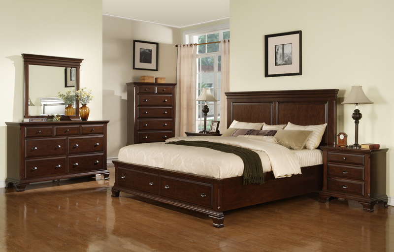 canton storage bedroom set cherry finish cn600qb set decor