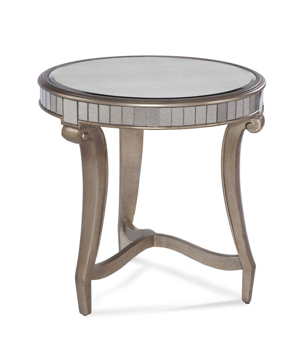 celine round end table real silver leaf antique mirror
