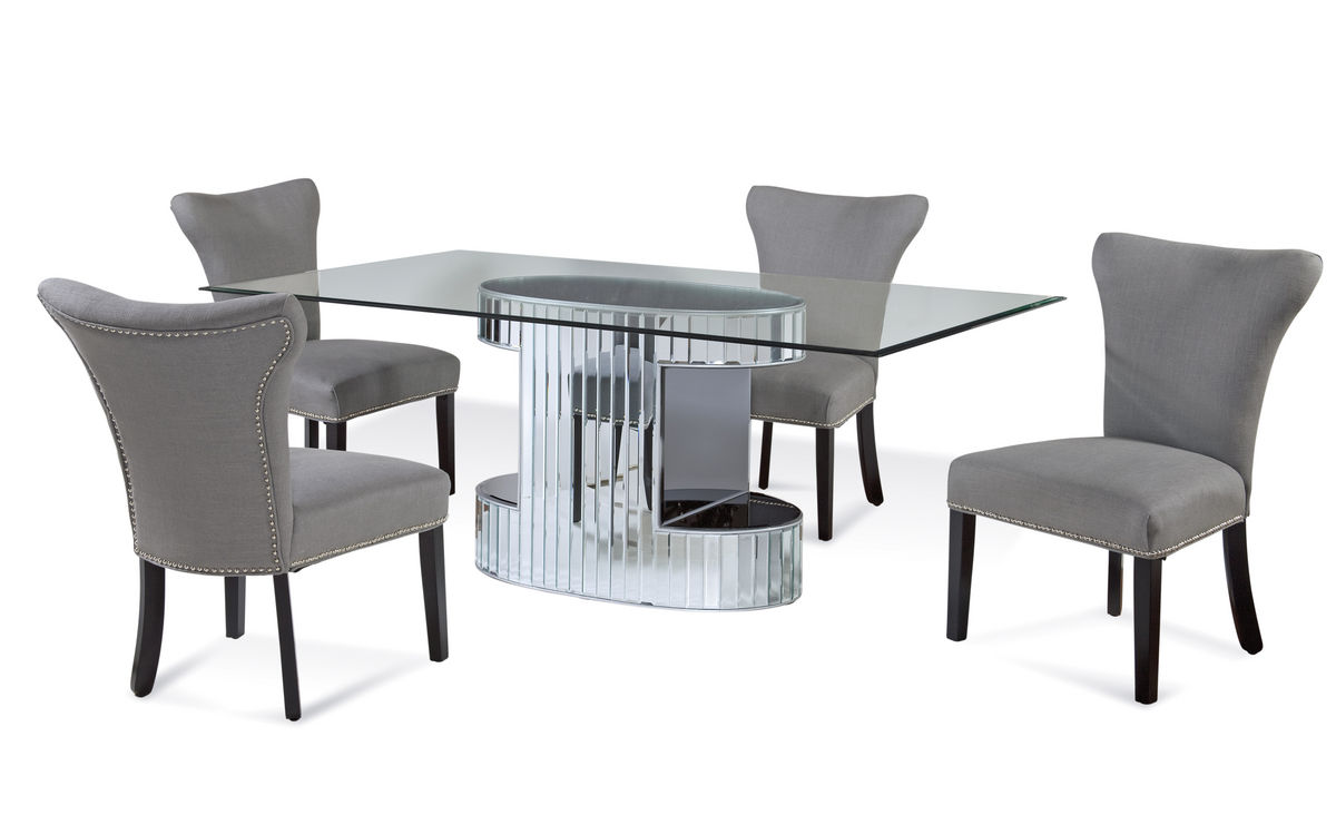 Chapman Dining Set With Gray Linen Chairs Mirrored Finish