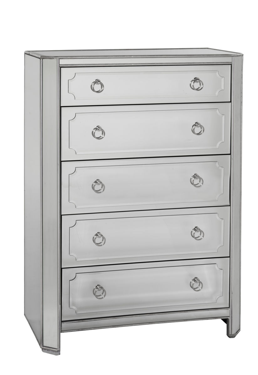 Chapman Five Drawer Tall Chest Antique Mirror Silver Leaf T2752 920