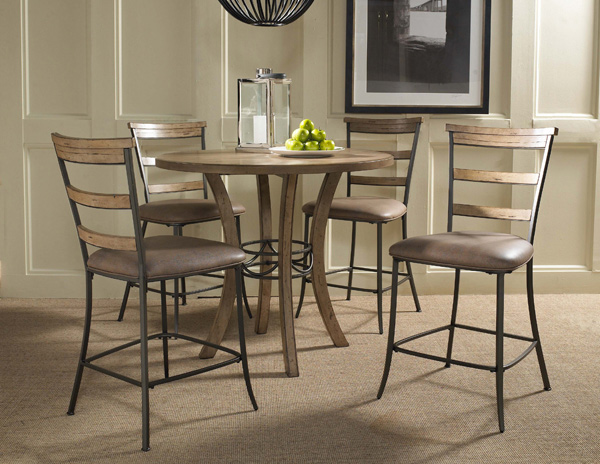 Charleston Counter Height Round Wood Dining Set With Ladder Back Stools  (Desert Tan Finish)   [4670CTBWS5]
