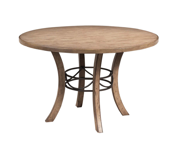 Charleston Round Metal Ring Dining Table With Wood Top Desert Tan
