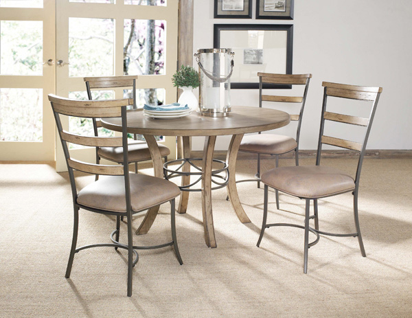charleston round metal ring dining table with wood top desert tan finish 4670dtbw decor. Black Bedroom Furniture Sets. Home Design Ideas