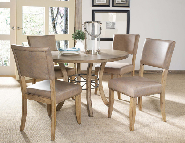 Charleston Round Metal Ring Dining Table With Wood Top