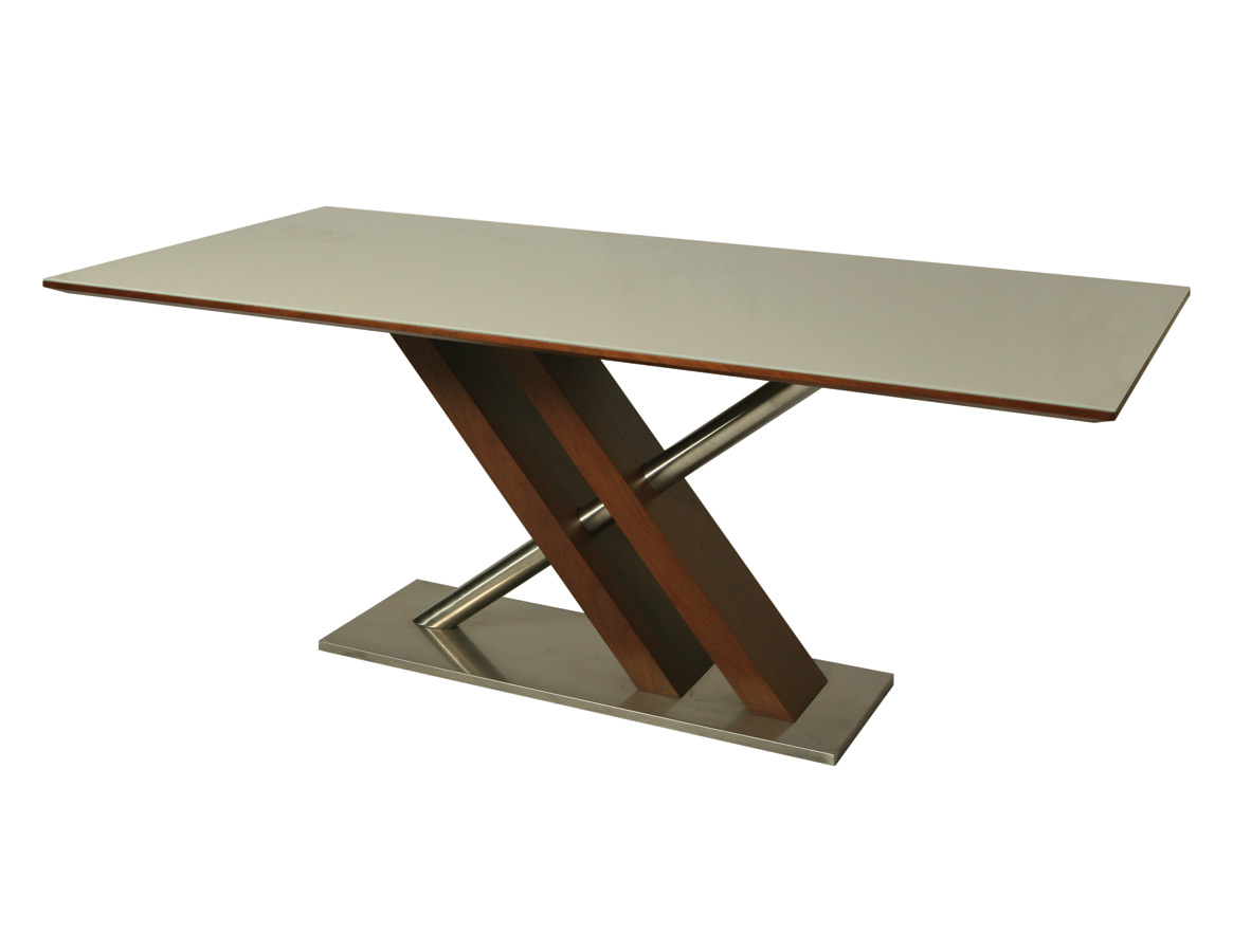 Charlize Dining Table Stainless Steel Walnut Veneer