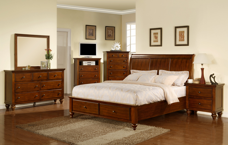walnut bedroom set. Chatham Storage Bedroom Set  Walnut Finish CH777QB Decor South