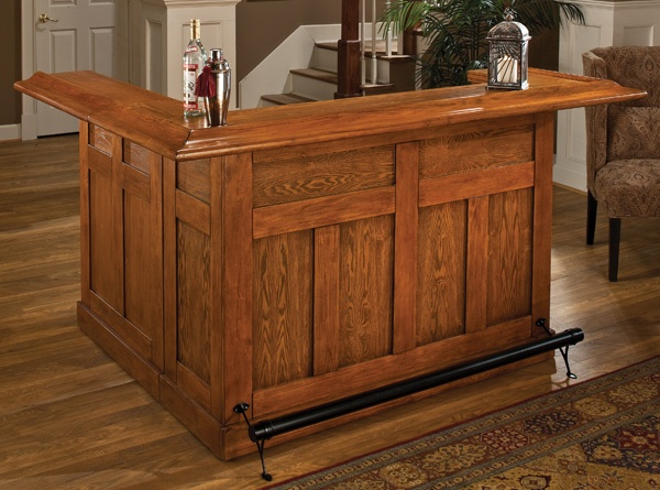 Classic Large Bar With Side Bar Oak Finish 62576axoak