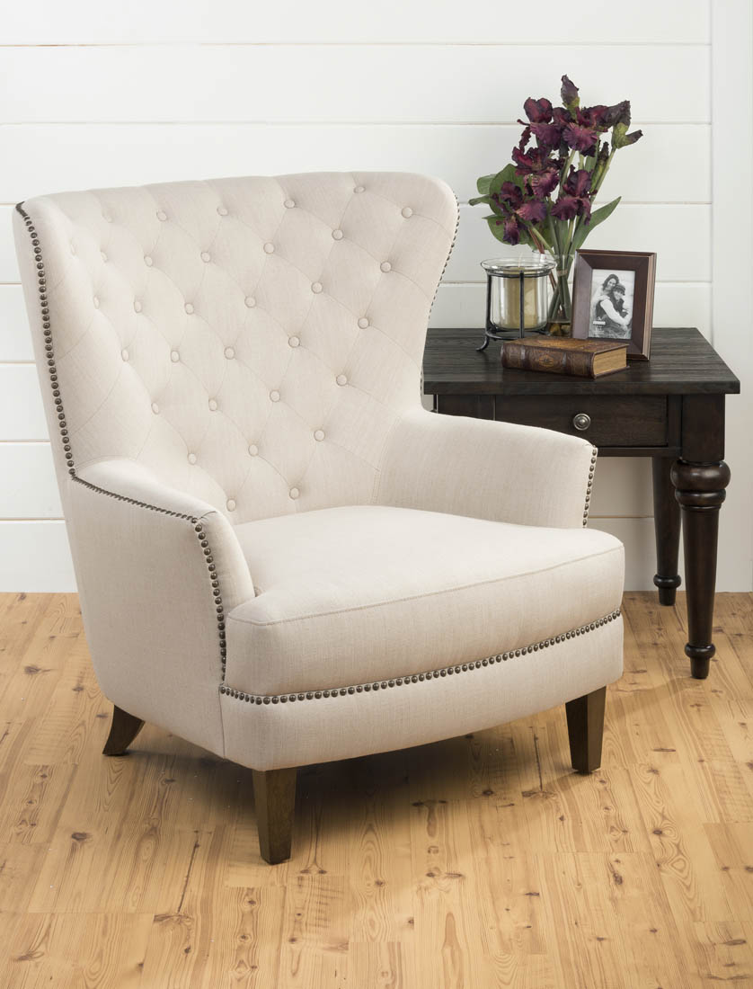 conner upholstered tufted wing back accent chair natural
