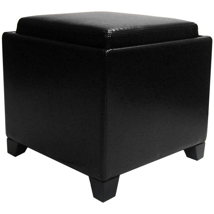 Contemporary Storage Ottoman With Tray Black