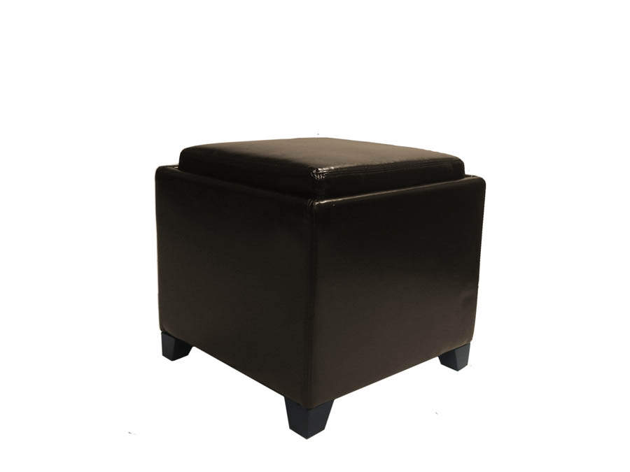 Contemporary Storage Ottoman With Tray Brown