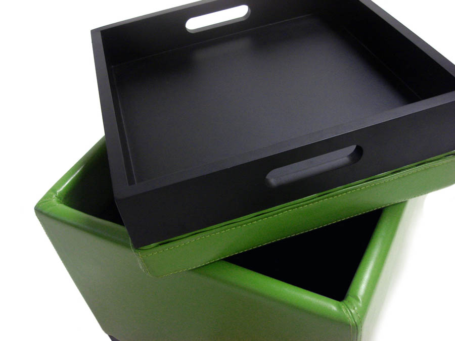 Contemporary Storage Ottoman With Tray (Green)   [LC530OTLEGR]