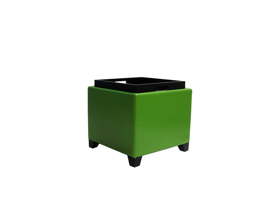 Contemporary Storage Ottoman With Tray Green