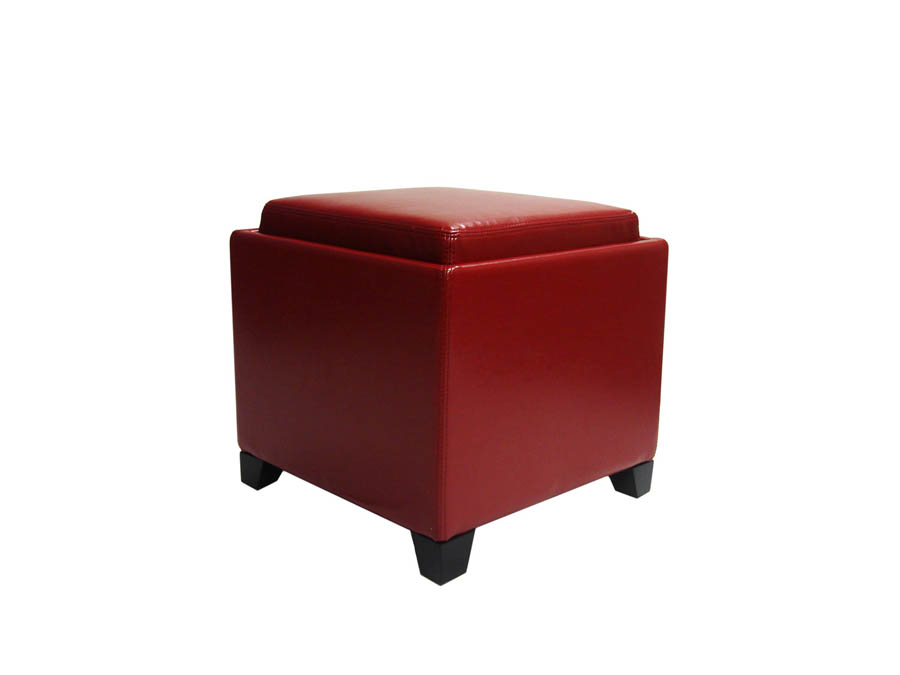 Superbe Contemporary Storage Ottoman With Tray (Red)   [LC530OTLERE]