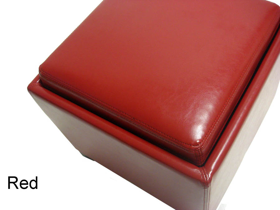 Contemporary Storage Ottoman With Tray Red