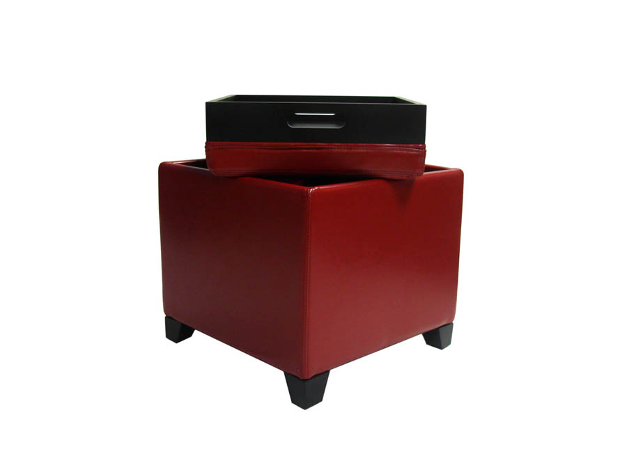 Contemporary Storage Ottoman With Tray (Red)   [LC530OTLERE]