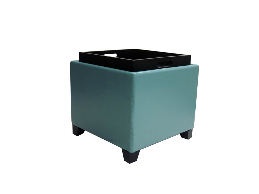 Contemporary Storage Ottoman With Tray Sky Blue Lc530ot