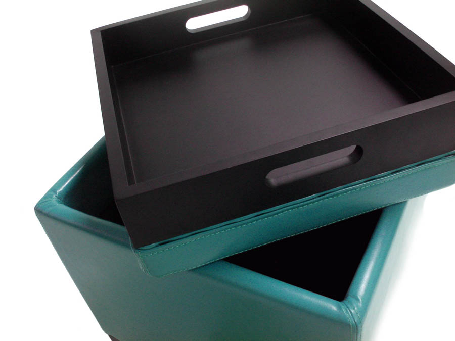 Contemporary Storage Ottoman with Tray Sky Blue LC530OTLESB