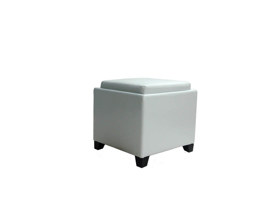 Contemporary Storage Ottoman with Tray WhiteLC530OTLEWH