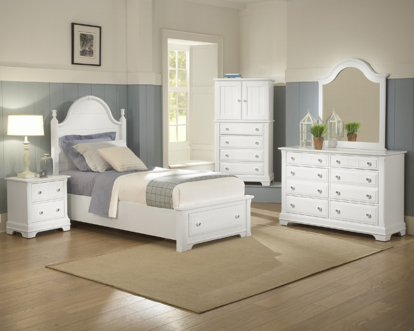 Cottage Collection Panel Storage Bedroom Set Snow White
