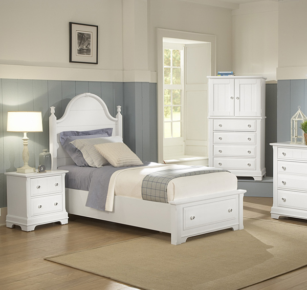Cottage Collection Panel Storage Bedroom Set Snow White Finish Decor South